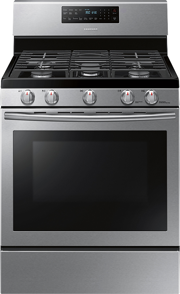 Samsung - 5.8 Cu. Ft. Self-Cleaning Freestanding Gas Convection Range - Stainless Steel