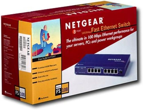 NETGEAR - 8-Port 10/100 Mbps Fast Ethernet Unmanaged Switch - Blue 8 x 10/100Base-TX