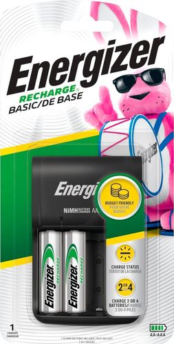 Energizer - Recharge Basic NiMH AA/AAA Charger - Black Compatible with AA and AAA NiMH batteries; charges up to 4 batteries simultaneously; light indicators; compact design; 2 rechargeable NiMH AA batteries included
