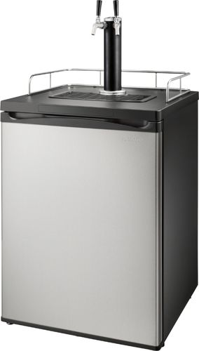 Insignia™ - 5.6 Cu. Ft. 2-Tap Beverage Cooler Kegerator - Stainless steel