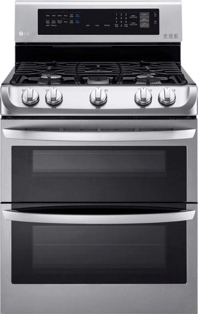 LG 6.9 Cu. Ft. Self-Cleaning Freestanding Double Oven Gas Convection Range Stainless Steel LDG4313ST