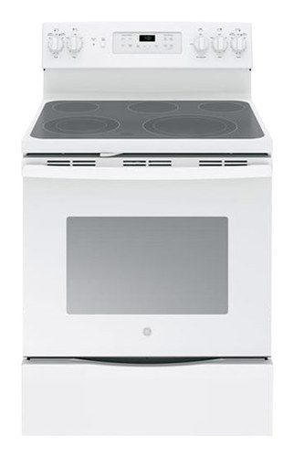 GE - 5.3 Cu. Ft. Self-Cleaning Freestanding Electric Convection Range - White on White