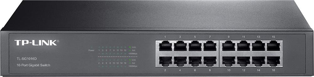TP-LINK TL-SG1016D 16-Port 10/100/1000 Mbps Gigabit Ethernet Switch Black