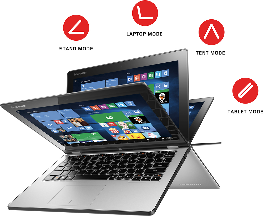 "Lenovo Yoga 2 2-in-1 11.6"" Touch-Screen Laptop Intel Pentium 4GB Memory 500GB Hard Drive Black YOGA 2 11 59445810"