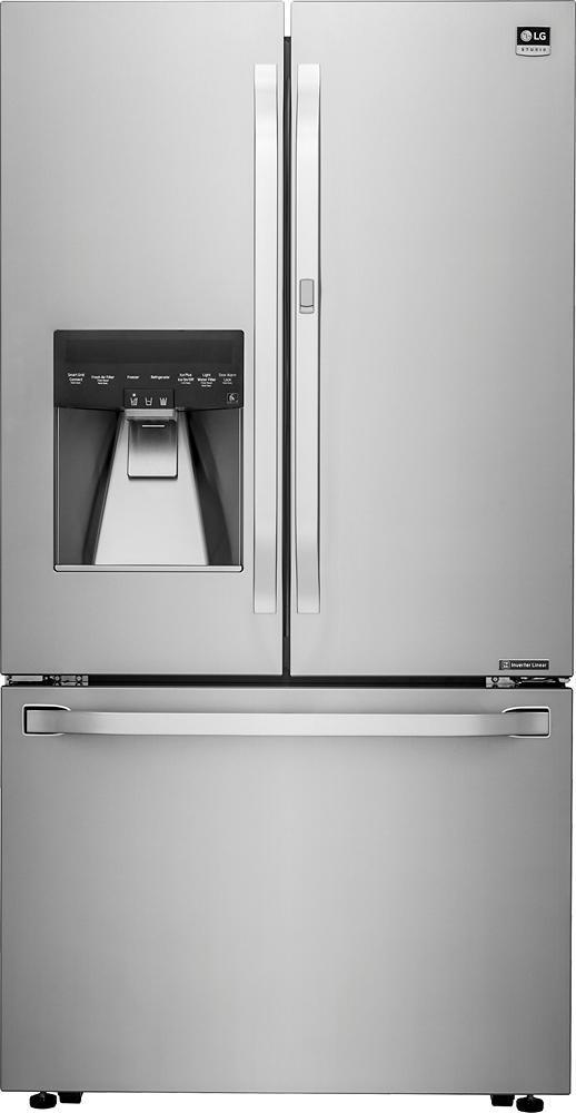 LG - Studio 23.5 Cu. Ft. Door-in-Door Counter- Depth French Door Refrigerator - Stainless steel largeFrontImage