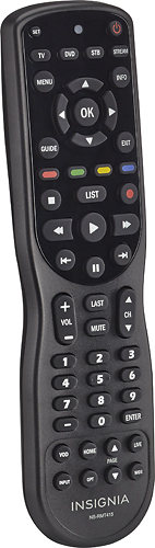 Insignia 4-Device Universal Remote Control NS-RMT415, Black (Compatible with TVs, Cable / Satellite, DVD / Blu-ray Players, and Streaming Devices Including Apple TV, Roku, and Google Chromecast.)