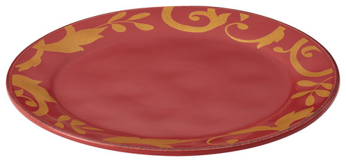 Rachael Ray - Gold Scroll Round Platter - Cranberry Red