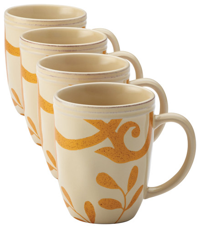 Rachael Ray - Gold Scroll 4-Piece Mug Set - Almond Cream