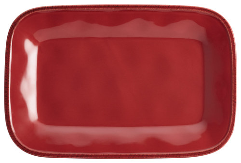 """Rachael Ray Cucina Dinnerware 8"""" x 12"""" Stoneware Rectangular Platter, Cranberry Red"""