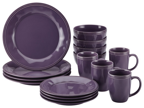 Rachael Ray Cucina Dinnerware 16-Piece Stoneware Dinnerware Set, Lavender Purple