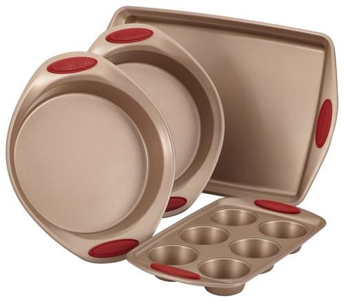 Rachael Ray - Cucina 4-Piece Nonstick Bakeware Set - Latte Brown/Cranberry Red 4554944