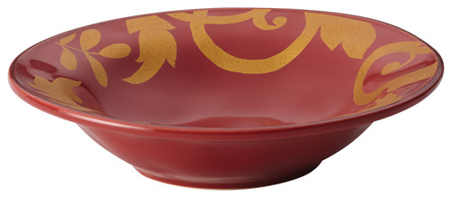Rachael Ray - Gold Scroll Serving Bowl - Cranberry Red