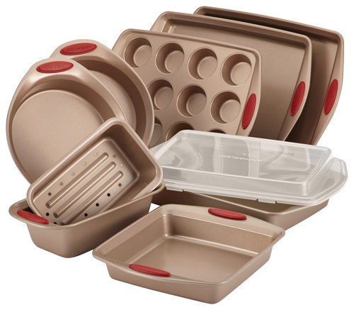 Rachael Ray - Cucina 10-Piece Nonstick Bakeware Set - Latte Brown/Cranberry Red RACHAEL RAY Cucina 10-Piece Nonstick Bakeware Set: Carbon steel construction; silicone handle grips; two 10  x 15  cookie pans, two 9  round cake pans, 9  square cake pan, 2-piece meatloaf pan, 9  x 13  cake pan with lid, 12-cup muffin pan