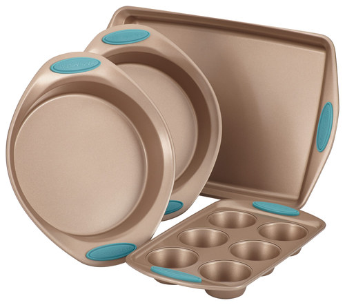 Rachael Ray - Cucina 4-Piece Nonstick Bakeware Set - Latte Brown/Agave Blue 4555012