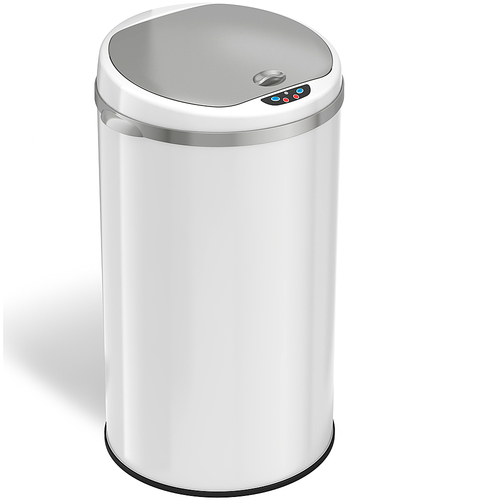 iTouchless - 8-Gal. Touchless Round Trash Can - Pearl White 4569813