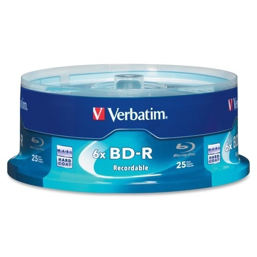 Verbatim - Blu-ray Recordable Media - BD-R - 6x - 25 GB - 25 Pack Spindle 4571093