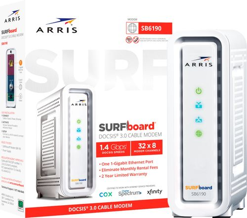 ARRIS - SURFboard 32 x 8 DOCSIS 3.0 Cable Modem - White Download speeds up to 1.4 GbpsCompatible with major U.S. Cable ProvidersOne Gigabit Ethernet port
