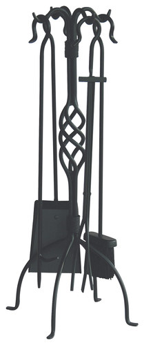 UniFlame - Fireplace Tool Set (5-Piece) - Black 4674815