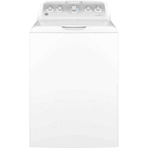 GE - 4.2 Cu. Ft. 13-Cycle High-Efficiency Top-Loading Washer - White with Silver Backsplash
