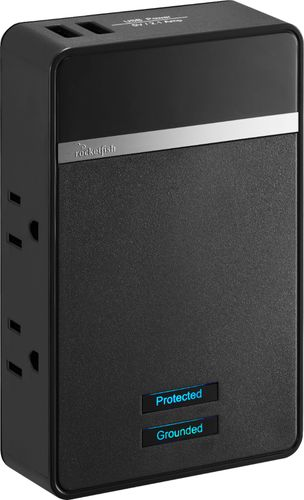 Rocketfish™ - 4-Outlet/2-USB Wall Tap Surge Protector - Black