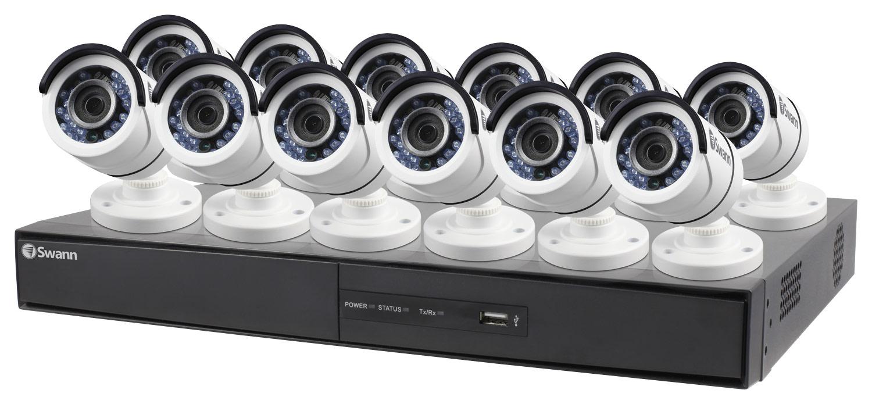 Swann 16-Channel, 12-Camera Indoor/Outdoor High-Definition DVR Surveillance System White SWDVK-164512-US