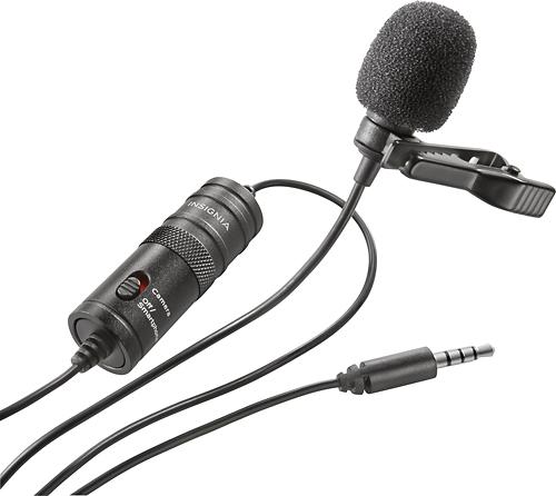 Insignia™ - Omnidirectional Lapel Microphone - Black