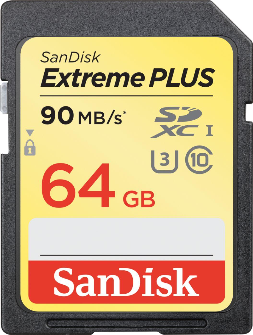 SanDisk - Extreme PLUS 64GB SDXC UHS-I Memory Card
