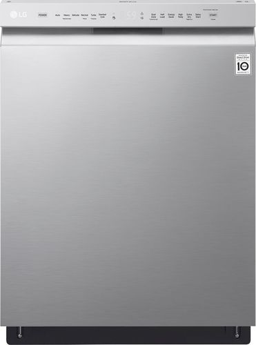 "LG - 24"" Front Control Built-In Dishwasher with QuadWash and Stainless Steel Tub - Stainless steel"