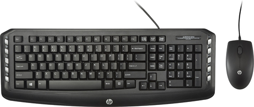 HP - C2600 Keyboard and Optical Mouse - Black Compatible with Windows 7, 8 and 10 2 USB ports 3-button mouse with scroll wheel full-size keyboard built-in number pad indicator lights