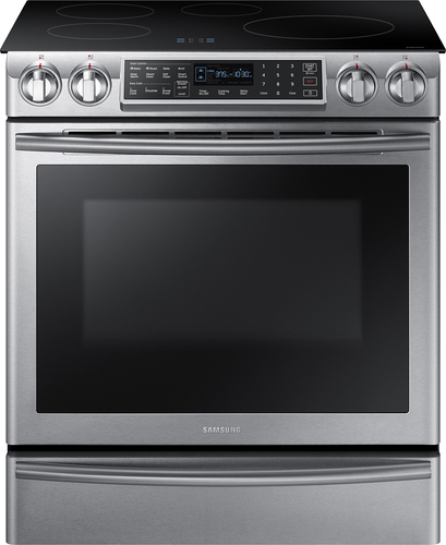 Samsung - 5.8 Cu. Ft. Electric Induction Self-Cleaning Slide-In Smart Range with Convection - Stainless steel