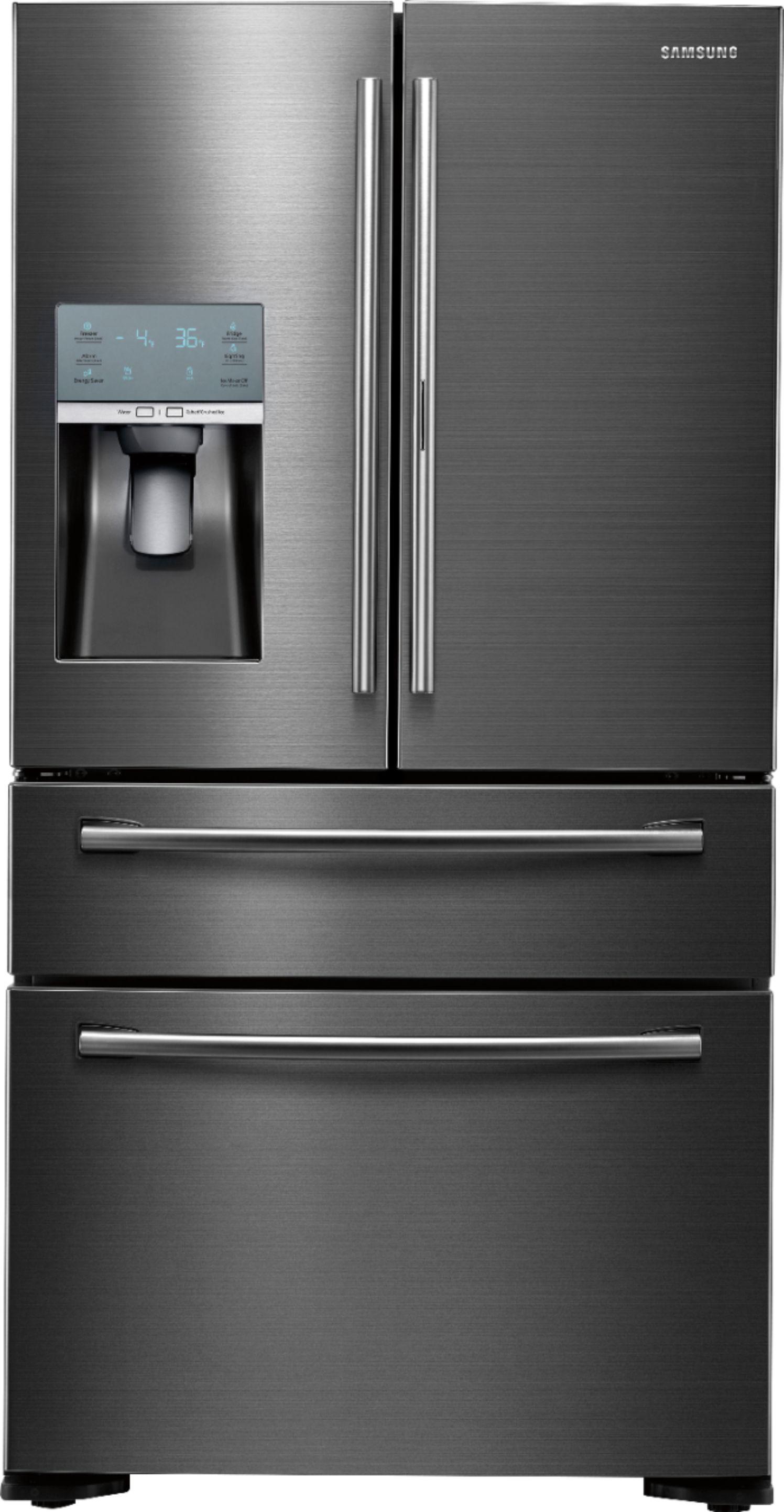 Samsung - ShowCase 22.4 Cu. Ft. 4-Door Flex French Door Counter-Depth Refrigerator - Fingerprint Resistant Black Stainless Steel largeFrontImage