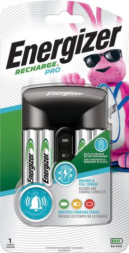 Energizer - Recharge Pro NiMH AA/AAA Battery Charger Compatible with most rechargeable NiMH AA and AAA batteries; charges up to 4 batteries at once; bad-cell detection; visual and audio charging status; 4 rechargeable NiMH AA batteries included