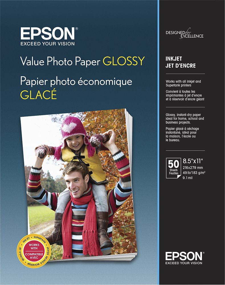 "Epson Value Glossy Photo 8.5"" x 11"" 50-Count Paper Bright white EPSON S400031 VALUE 8.5X11"