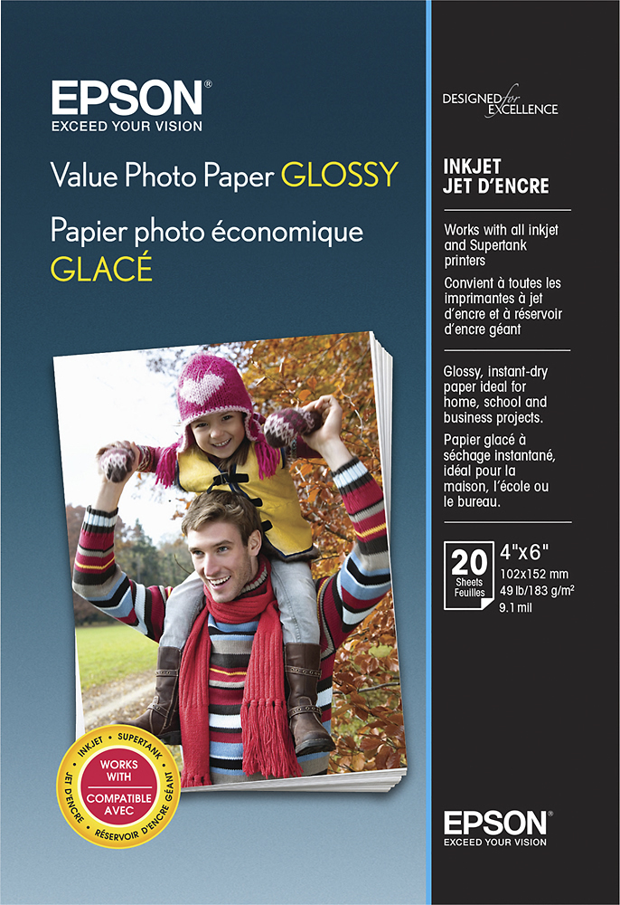 "Epson Value Glossy Photo 4"" x 6"" 20-Count Paper Bright white EPSON S400032 VALUE 4X6 20 CT"