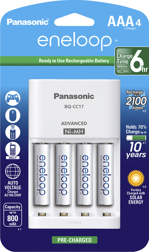 Panasonic - eneloop Charger and 4 AAA Batteries Kit - White Compatible with eneloop and eneloop pro rechargeable NiMH AA and AAA batteries; charges up to 4 AAA batteries in 6 hours; auto shutoff; overheat protection