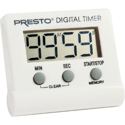 Presto - Electronic Digital Timer - White Memory feature; LCD display; convenient clip; easel stand; magnet; stopwatch