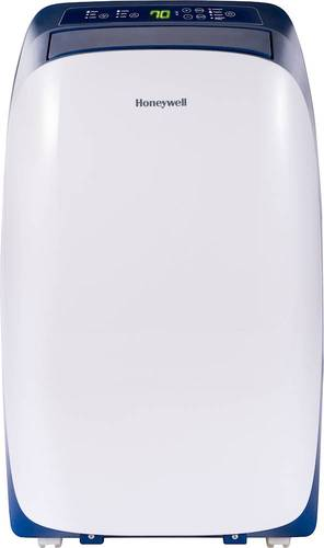 Honeywell - 550 Sq. Ft. Portable Air Conditioner - Blue/White 550 sq. ft. cooling capacity; remote control; Auto Evaporation; built-in Dehumidifier; Sleep Mode; 3 fan settings; washable filter