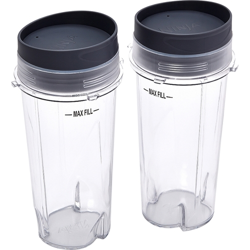 Ninja - 16 oz. Single Serve Cups with Lids (2-Pack) - Clear 5090820