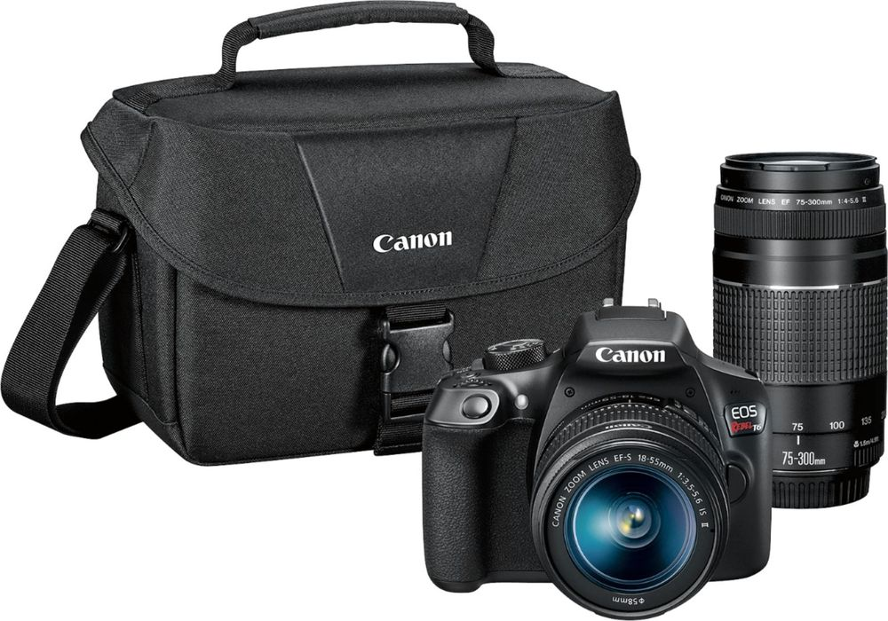 Canon - EOS Rebel T6 DSLR Camera with EF-S 18-55mm IS II and EF 75-300mm III lens - Black