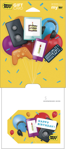 Best Buy GC - $100 Happy Birthday Balloons Gift Card Perfect gift card? Piece of cake. All Best Buy gift cards are shipped free and are good toward future purchases online and in U.S. or Puerto Rico Best Buy stores. Best Buy gift cards do not have an expiration date.