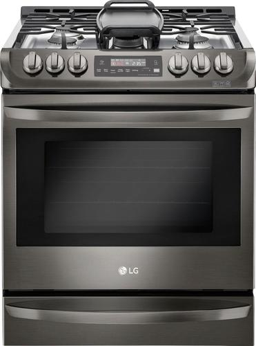 LG - 6.3 Cu. Ft. Self-Cleaning Slide-In Gas Convection Range - Black stainless steel