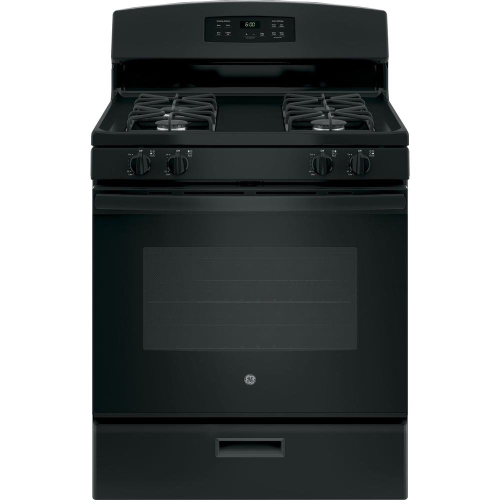 "GE Appliances 30"" 4.8 Cu. Ft. Freestanding Gas Range Black JGBS60DEKBB"