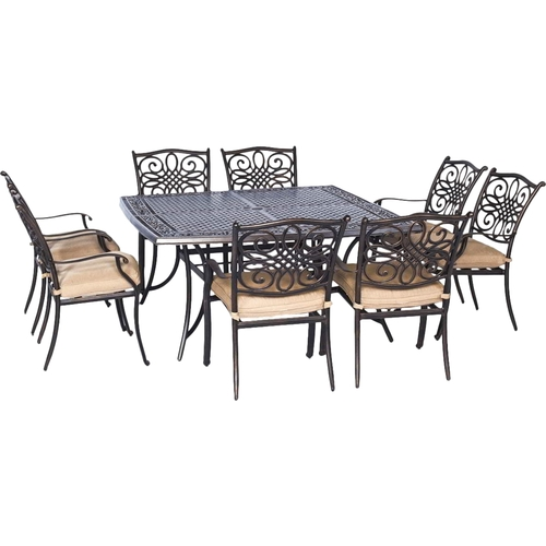 Hanover - Traditions 9-Piece Dining Set Outdoor Furniture - Natural Oat