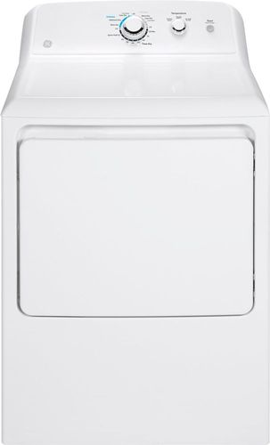 GE - 7.2 Cu. Ft. 1-Cycle Gas Dryer - White Electromechanical controls; front loading type; aluminized alloy steel drum
