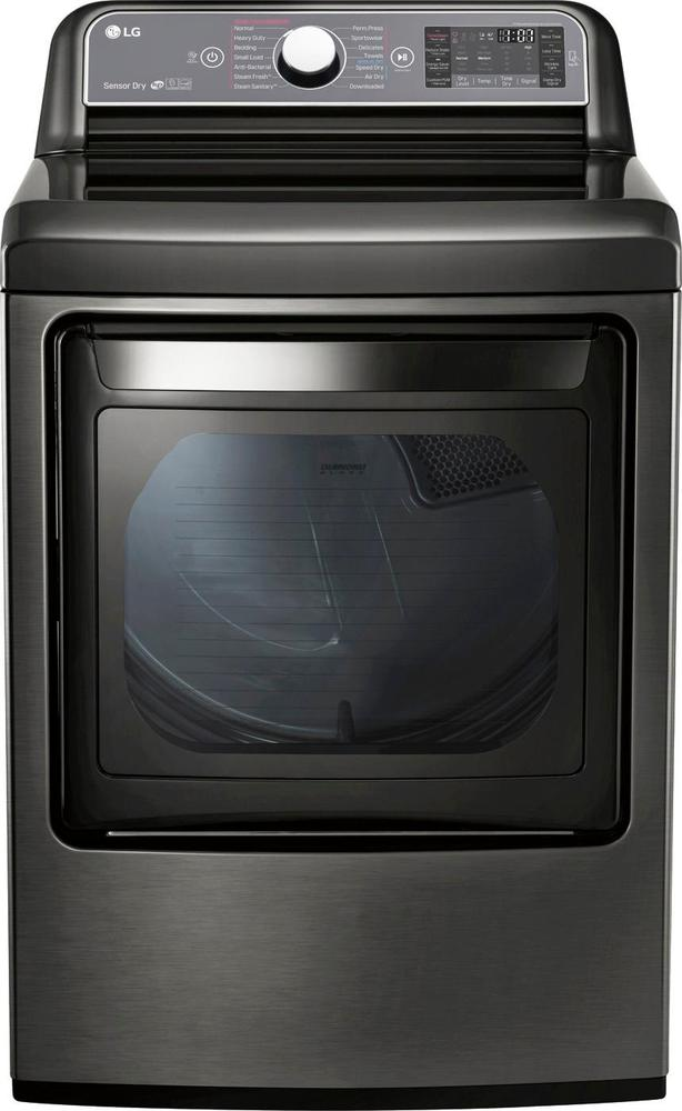 LG 7.3 Cu. Ft. 14-Cycle Electric Dryer with Steam Black stainless steel DLEX7600KE