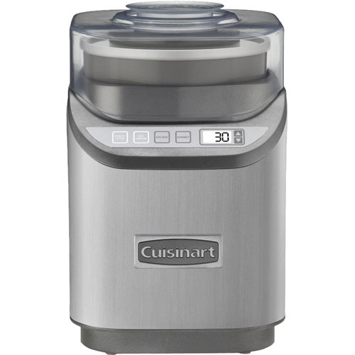 Cuisinart - 2-Quart Cool Creations Ice Cream Maker - Brushed Chrome 2-quart capacity; improved paddle with faster processing time; control panel with LCD screen; 3 settings with multiple speeds; countdown timer with auto shutoff; ingredient spout with integrated measuring cup