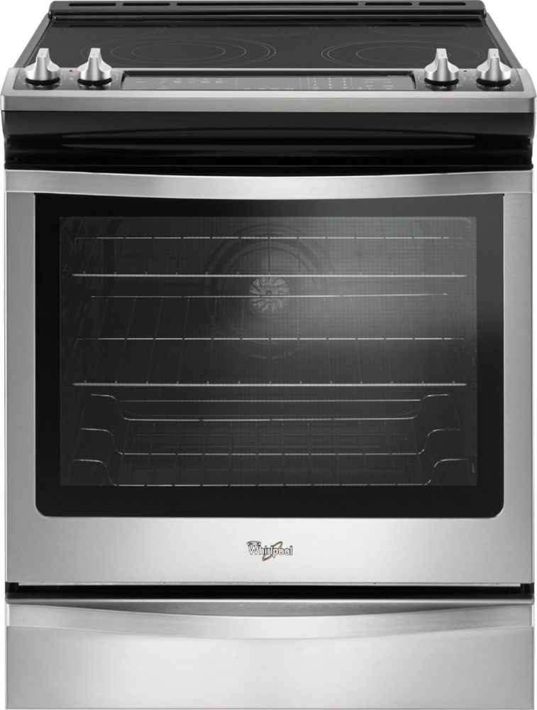 Whirlpool WEE745H0FS 6.4 Cu. Ft. Self-Cleaning Electric Convection Range Black on stainless