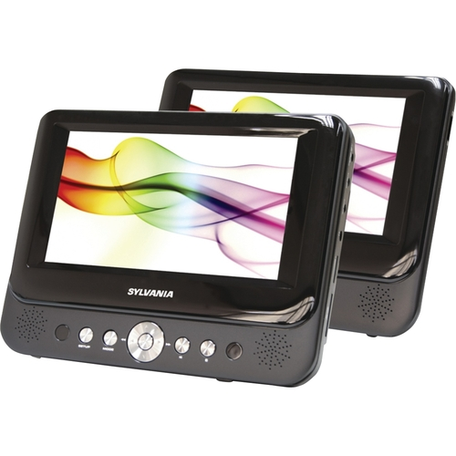 "Sylvania - 7"" Dual Portable DVD Player - Black"