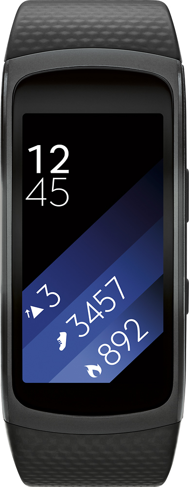 Samsung - Gear Fit2 Fitness Watch + Heart Rate (Large) - Black