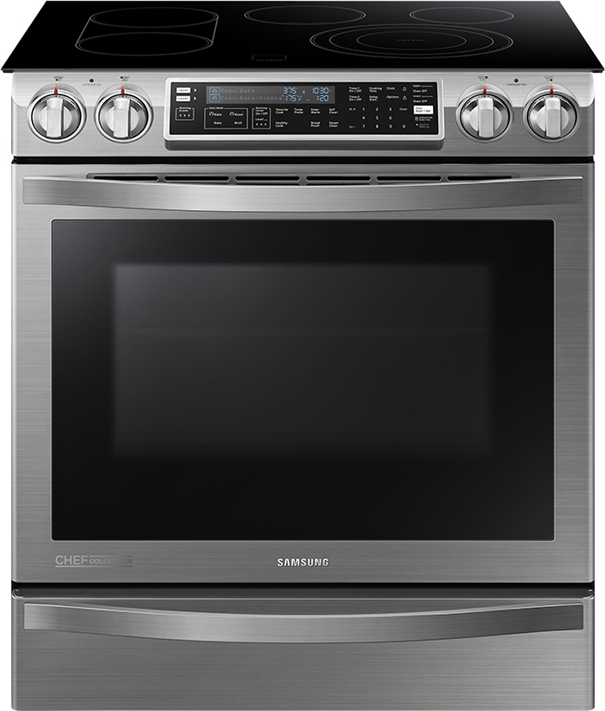 """Samsung Chef Collection Flex Duo 30"""" Self-Cleaning Slide-In Double Oven Electric Convection Range Stainless Steel NE58H9950WS"""